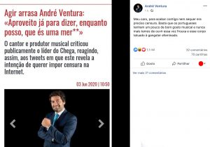 O que disse André Ventura sobre Agir