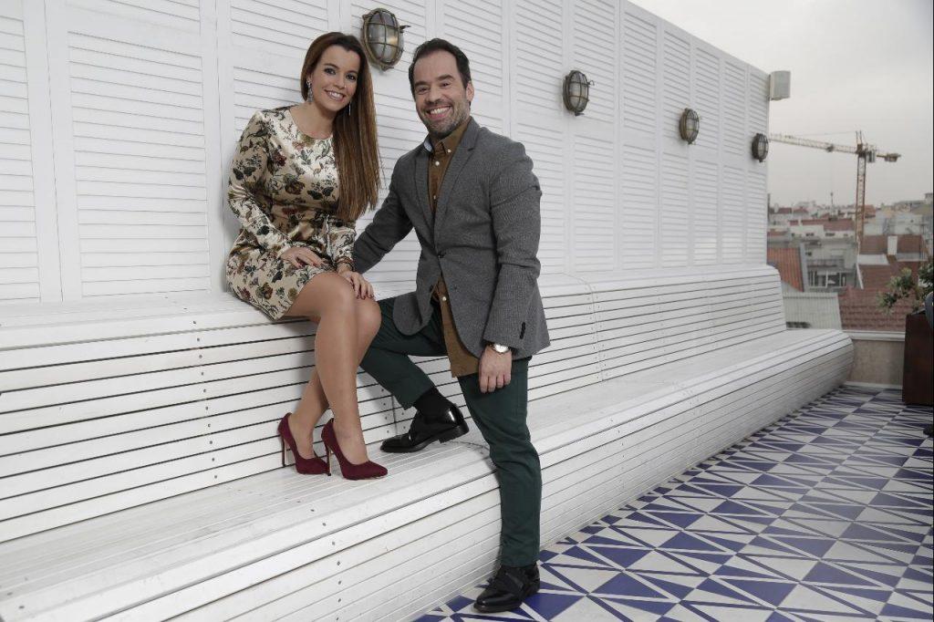 Luís Filipe Borges com a mulher, Sara Santos