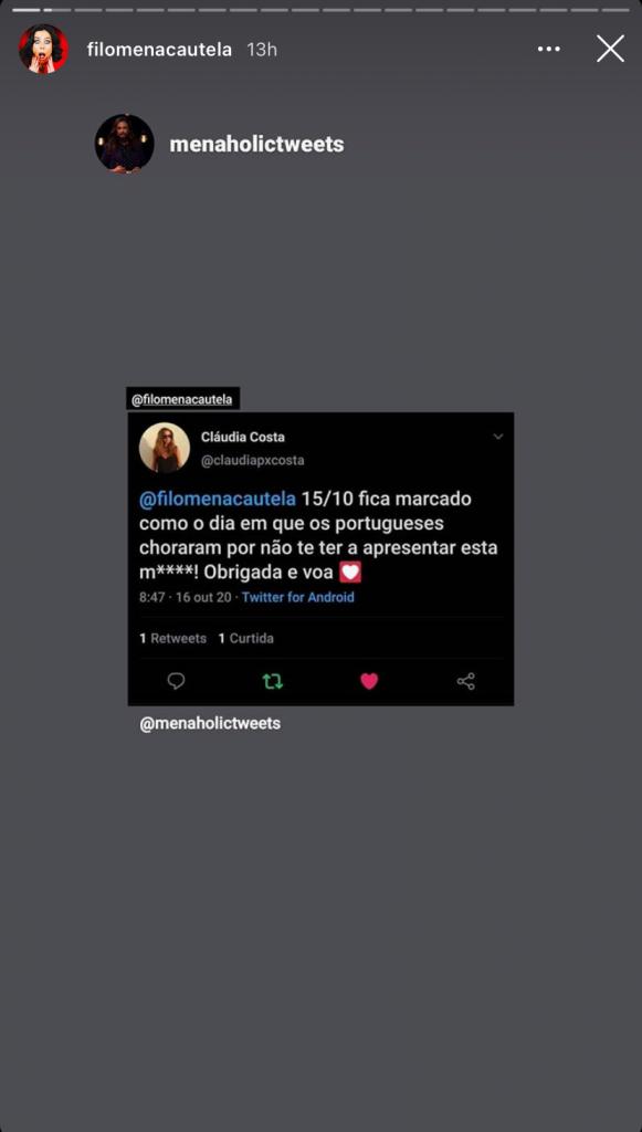 """Filomena Cautela partilhou opinião sobre a sua ausência de """"5 Para a Meia-Noite"""", mas não comentou a estreia"""