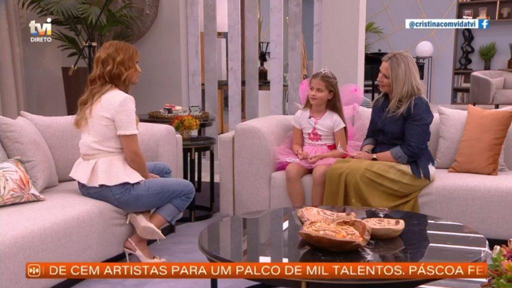 """Susana Almeida, ex-concorrente da primeira edição do """"Big Brother"""", com a filha no programa """"Cristina ComVida"""""""