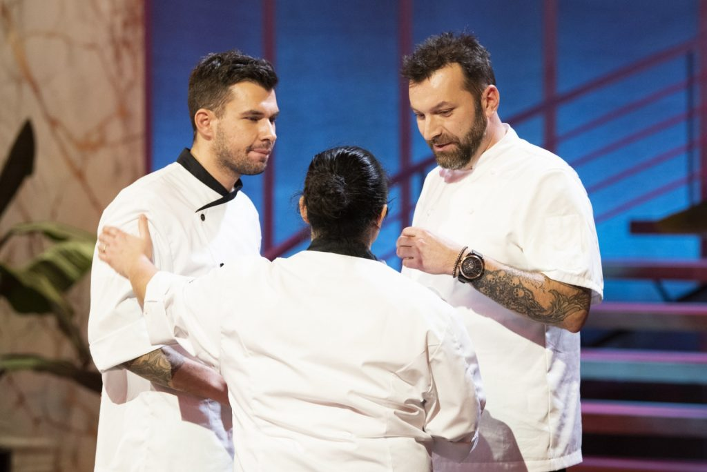 "Lucas Fernandes, Francisca Dias e Ljubomir Stanisic no programa da SIC ""Hell's Kitchen"""