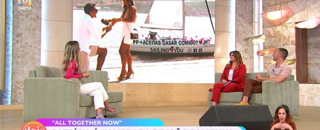 """Patrícia Palhares, concorrente de """"All Together Now"""", revelou, no programa da TVI """"Dois às 10"""", que já é casada com João Palhinha"""