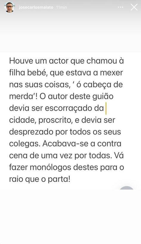 """José Carlos Malato comentou o vídeo em que João Baptista se refere à filha como """"cabeça de merd*"""" e não poupou críticas ao ator"""