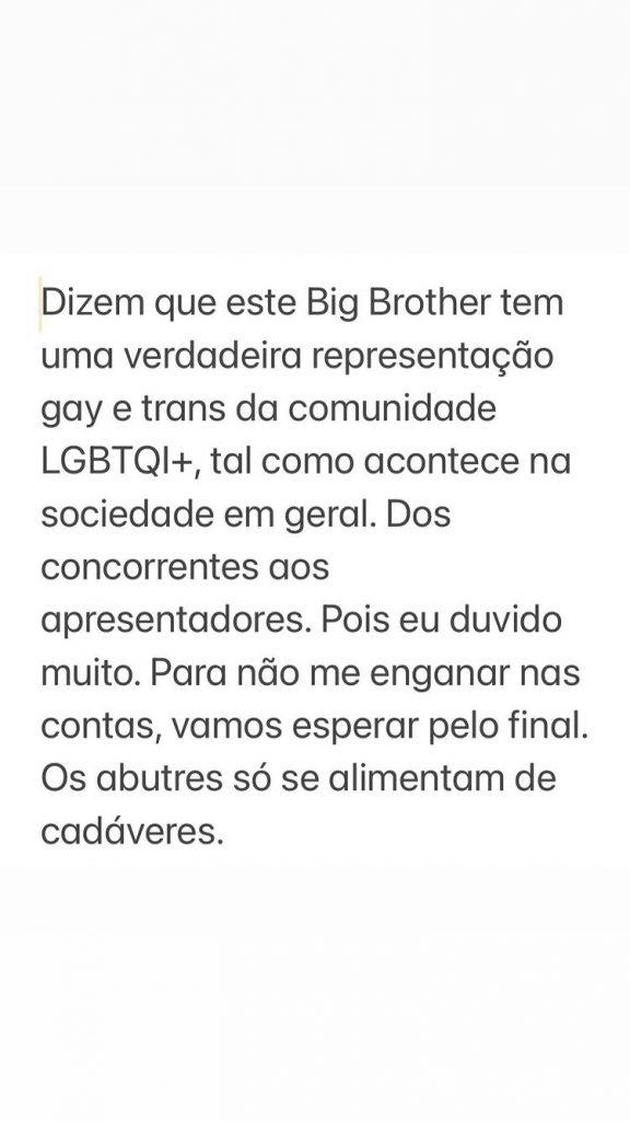 """José Carlos Malato usou as redes sociais para apontar o dedo à suposta """"verdadeira representação gay e trans da comunidade LGBTQI+"""" no """"Big Brother"""""""