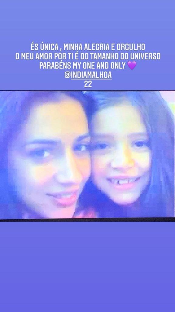 Ana Malhoa assinalou o 22.º aniversário da filha, Índia Malhoa, com a partilha de duas fotografias em que surge ao lado da jovem quando esta ainda era uma criança